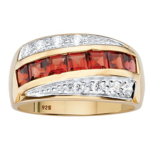 Men's Square-Cut Genuine Red Garnet and CZ 14k Gold over .925 Silver Channel-Set Ring