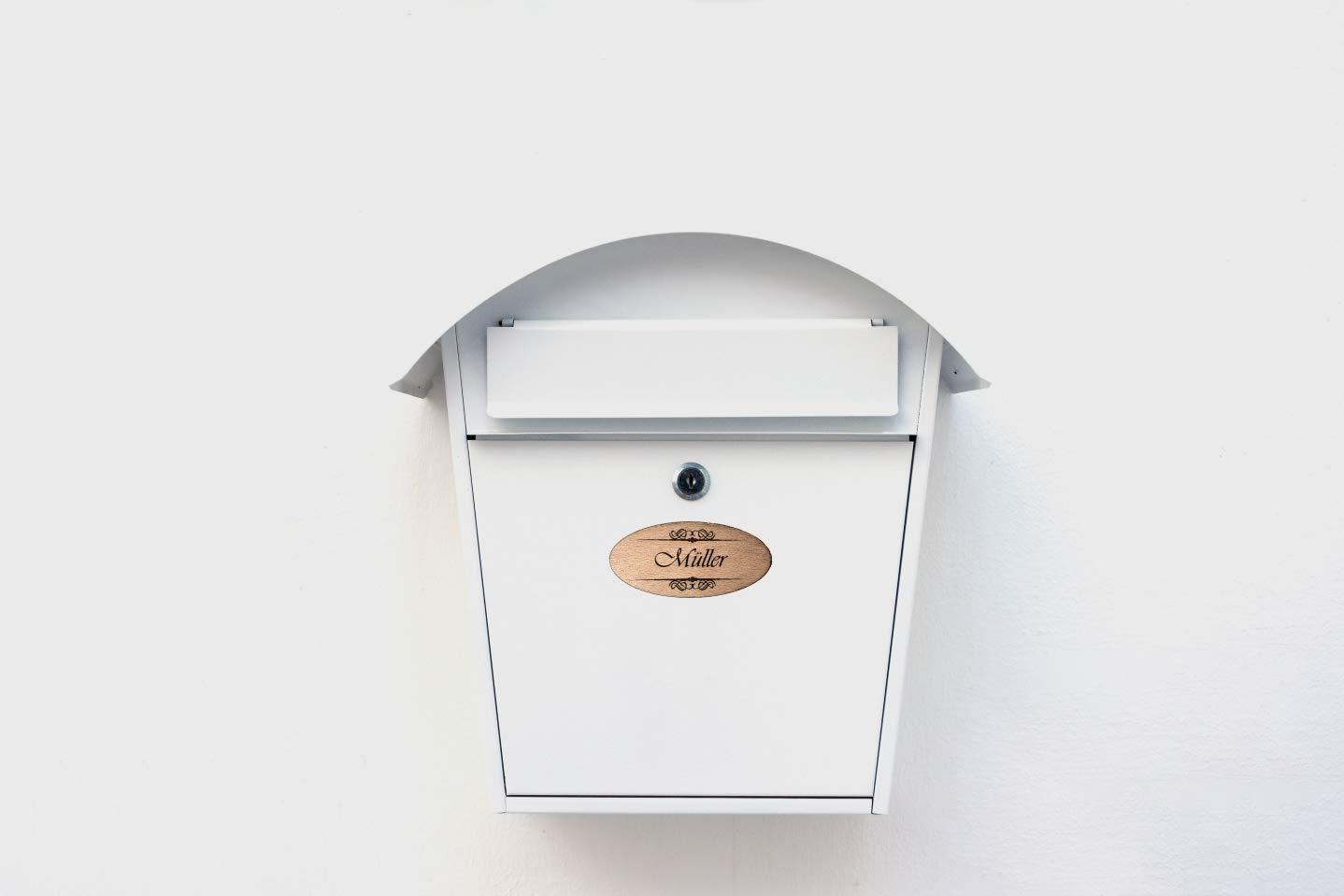 M/üller PISDEZ Namensschild Wohnungsschild T/ürschild Briefkastenschild Klingelschild Familienschild Einweihungsgeschenk Wohnung Holz personalisiert Lasergravur Gravur Geschenkidee 9cm x 4cm
