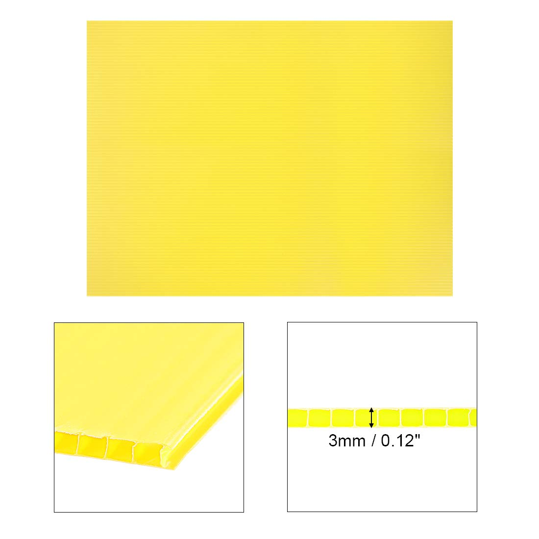 uxcell Corrugated Plastic Sheets,3mm Yellow Blank Yard Lawn Signs,12 Inch x 16 Inch,Waterproof Sign Blank Board 1pcs