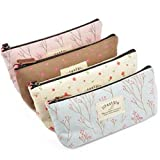LEFV Rural Floral Canvas Pen Bag Pencil Pouch Case Holder Cellphone Coin Cosmetic Makeup Bag for Kids Teen Girls Boys School Office Set of 4