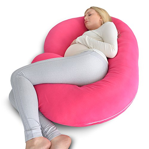 PharMeDoc Pregnancy Pillow with Pink Jersey Cover, C Shaped Full Body Pillow