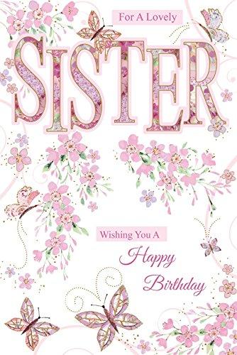 Hermana cumpleaños tarjeta - con texto, Rosa Flores y lila ...