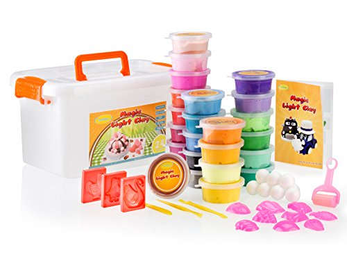 Craftswer 24 colors magic light air dry DIY modeling clay set craft kit, with easy to follow idea book.
