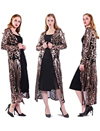Women's Sequin Glitter Sparkle Cardigan Loose Casual Open Front Coat Dress Summer Party Prom Dress