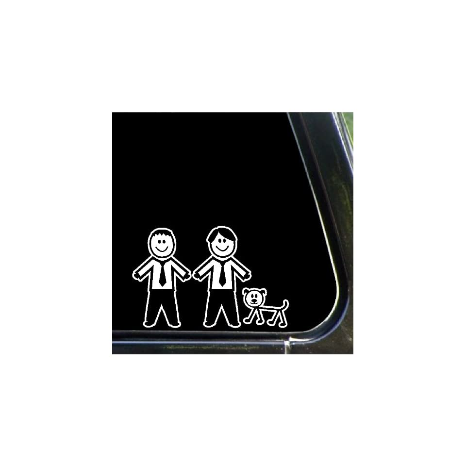Two males and a dog Stick People Family Car Decals Stickers
