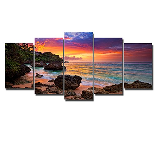 Art Sunset Painting - PIY Canvas Wall Paintings for Living Room, Beach Sunset Pictures