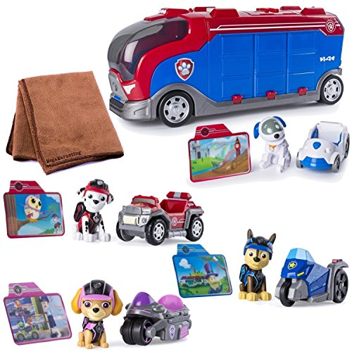 Paw Patrol Mission Paw - Mission Cruiser with Robo Dog, Marshall, Skye, and Chase , Vehicle and Figure with Cleaning Cloth, Bundle by Paw Patrol