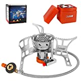 dxrise Camping Stoves Ultralight Foldable Backpack Stove Burner Windproof Outdoor Portable Small Camping Gas Stove with Piezo Ignition Wind Shield and Carry Box for Outdoor Camping, Hiking, Fishing
