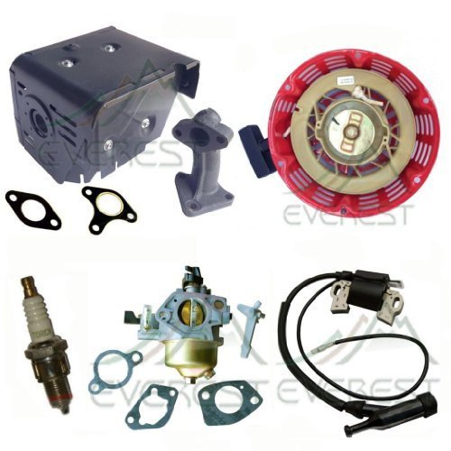 HONDA GX240 8HP CARBURETOR WITH GASKETS RECOIL IGNITION COIL MUFFLER WITH MANIFOLD SPARK PLUG