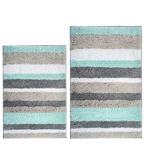 HEBE Bath Rug Set of 2 Piece Microfiber Bathroom Rugs Sets Non Slip Shag Bath Mat Rug for Bathroom Kitchen Bedroom Washable, 26