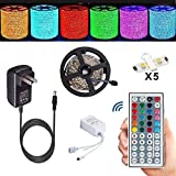 Alfa Lighting 16.4 Ft/5m 150 LEDs Flexible LED Strip 5050 SMD RGB 12V 2A + 44 Keys Remote Control [Energy Class A]