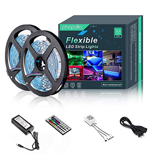 (PHOPOLLO Led Strip Lights with Remote 5050 RGB 32 ft 10M Dimmable Changing Color Led Strips Kit IR Controller and 12v Power Supply Non-Waterproof Use for Home Kitchen Bed Room Decoration)