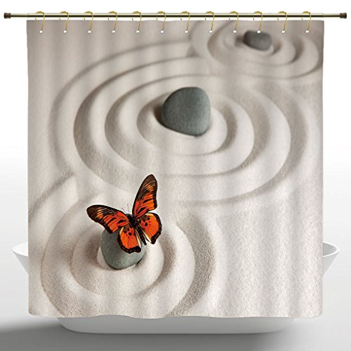 No Chemical Odor Shower Curtain By IPrint,Butterflies Decor,Zen Rock On The  Sand