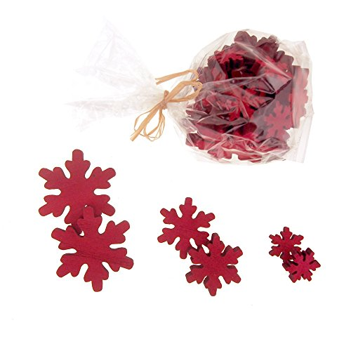 Homeford Christmas Snowflake Wooden Cutouts, 3 Sizes, 30 Piece (Red) -