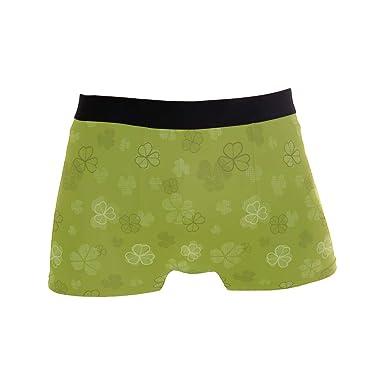Mens Soft Breathable Saint Patricks Day Clover Decorations Underwear Boxer Briefs
