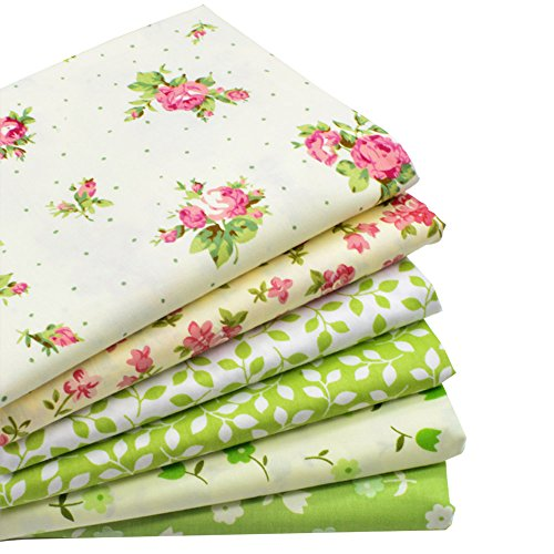 iNee Green Floral Fat Quarters Quilting Fabric Bundles, Sewing Fabric for Quilting Craftting,18