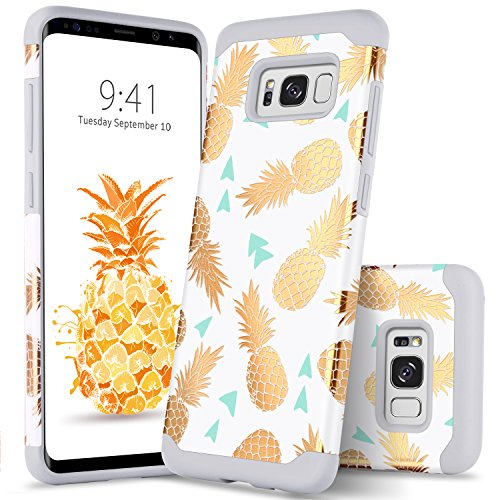 GUAGUA Samsung Galaxy S8 Case Pineapple Slim Hybrid Hard PC Soft Silicone Glossy Cover Anti-Scratch Shockproof Protective Phone Case for Samsung Galaxy S8 Case for Girls&Women Gold White