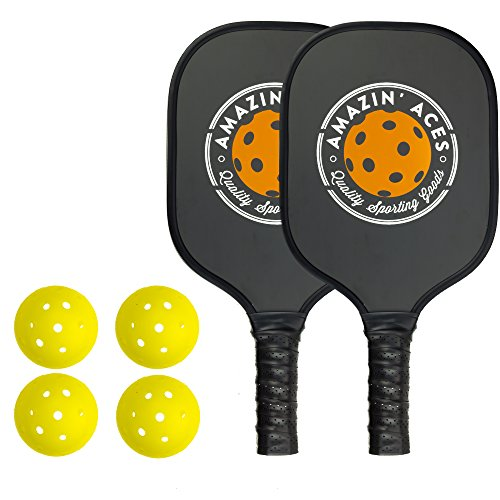 Amazin Aces Pickleball Paddle Bundle | Set Includes Two Graphite Paddles + Four Balls + One Mesh Pickleball Carrying Bag | Classic Rackets Feature Graphite Face with PP Honeycomb Core