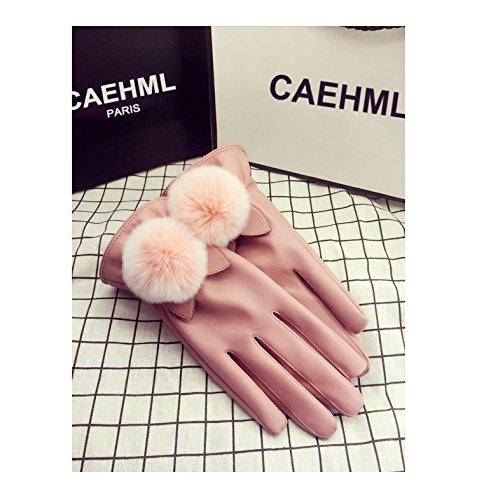 Generic autumn winter _new_ women girls leather glove gloves ,_just_touch Korean_style_of lovely _true_rabbit hair bulb_plus_velvet_thick_warm