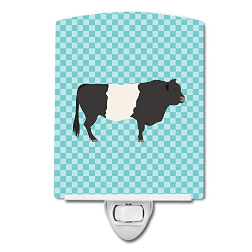 Belted Check (Caroline's Treasures Belted Galloway Cow Blue Check Ceramic Night Light, 6 x 4