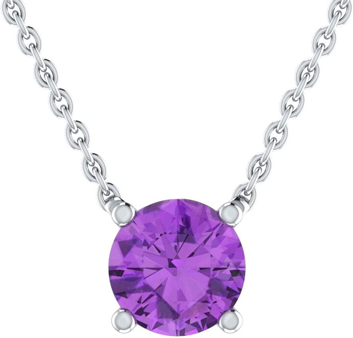 Solitaire Round Pendant Simulated Lavender .925 Sterling Silver Charm