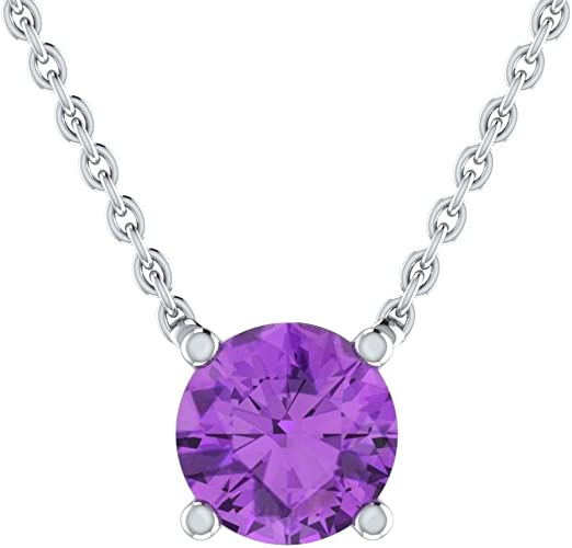 Large Solitaire Dangle Drop Purple Amethyst Necklace Nickel Free Jewelry Gift