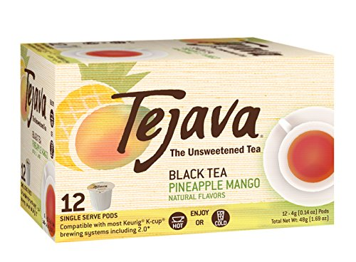Tejava Unsweetened Black Tea Pods with Pineapple-Mango Flavor, 12 Count (Ice Pod Black)