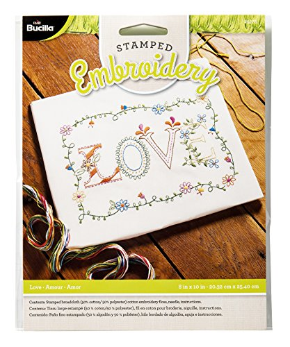 Bucilla Stamped Embroidery Kit, 8 by 10-Inch, 46276 Love on Broadcloth