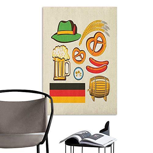 Waterproof Art Wall Paper Poster German Oktoberfest Symbols Wheat Sausage Beer and Pretzels Colorful Bavarian Arrangement Multicolor Bedroom Bedside Wall W16 x H20