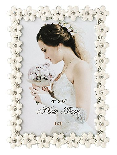 (L&T Flower Picture Frame Silver Metal with White Enamel and Crystals 4 x 6 Inch)