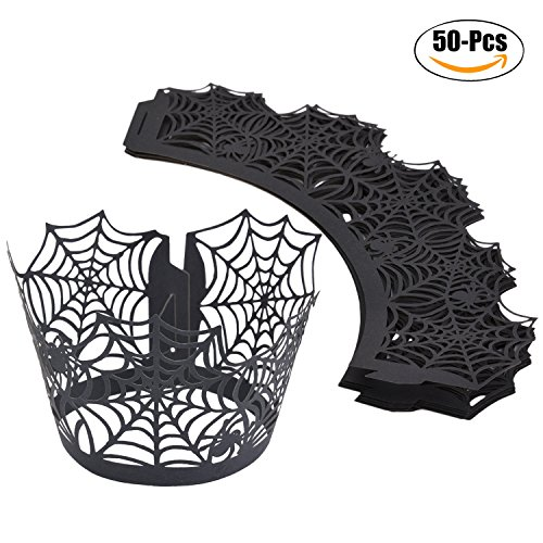 (Cupcake Wrapper, Funpa 50Pcs Filigree Wrapper Hollow Paper Cup Spiderweb Liner Baking Laser Cup for Party)
