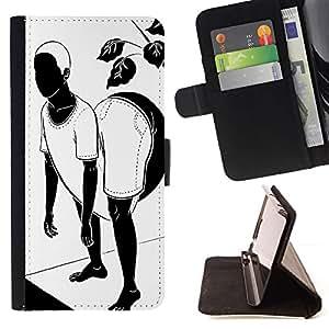 Funny Black And White Twister Yoga Flex - Modelo colorido cuero de la carpeta del tirón del caso cubierta piel Holster Funda protecció Para Apple (4.7 inches!!!) iPhone 6 / 6S