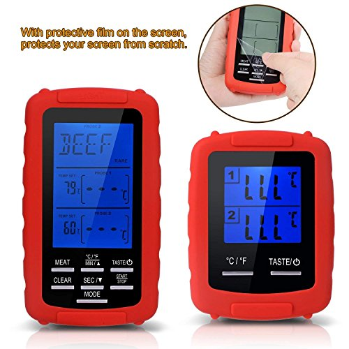 Meat thermometer digital grill oven or Highly smoker remote-reading food thermometers   The best wireless accessories for safe remote bbq grilling, kitchen cooking and smokers (red) by TBvechi (Image #4)