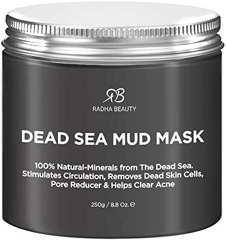 Radha Beauty Dead Sea Mud Mask for Face, Acne, Oily Skin & Blackheads - 8.8 oz - 100% natural facial treatment to minimize pores, reduce wrinkles, decrease acne and Improve skin Complexion