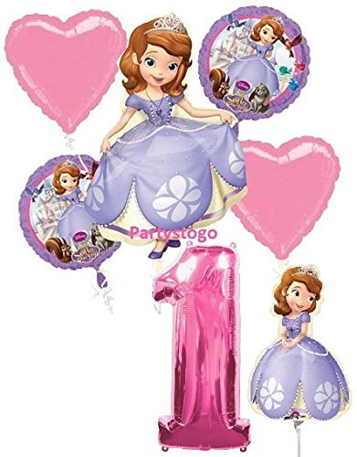DISNEY PRINCESS SOFIA THE FIRST 1ST BIRTHDAY PARTY BALLOONS DECORATIONS WITH 16