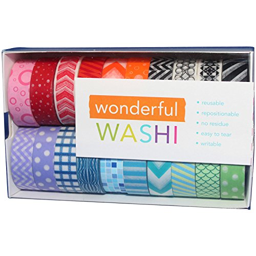 Wonderful Washi Japanese Decorative Paper Craft Tape - Geometric Collection ( Set of 20 Rolls)