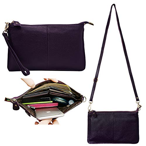 Mini Women's Slots Phone Leather Clutch Bag Befen with Card Aubergine Purse Purple Crossbody Wallet Wristlet c4YRU7q