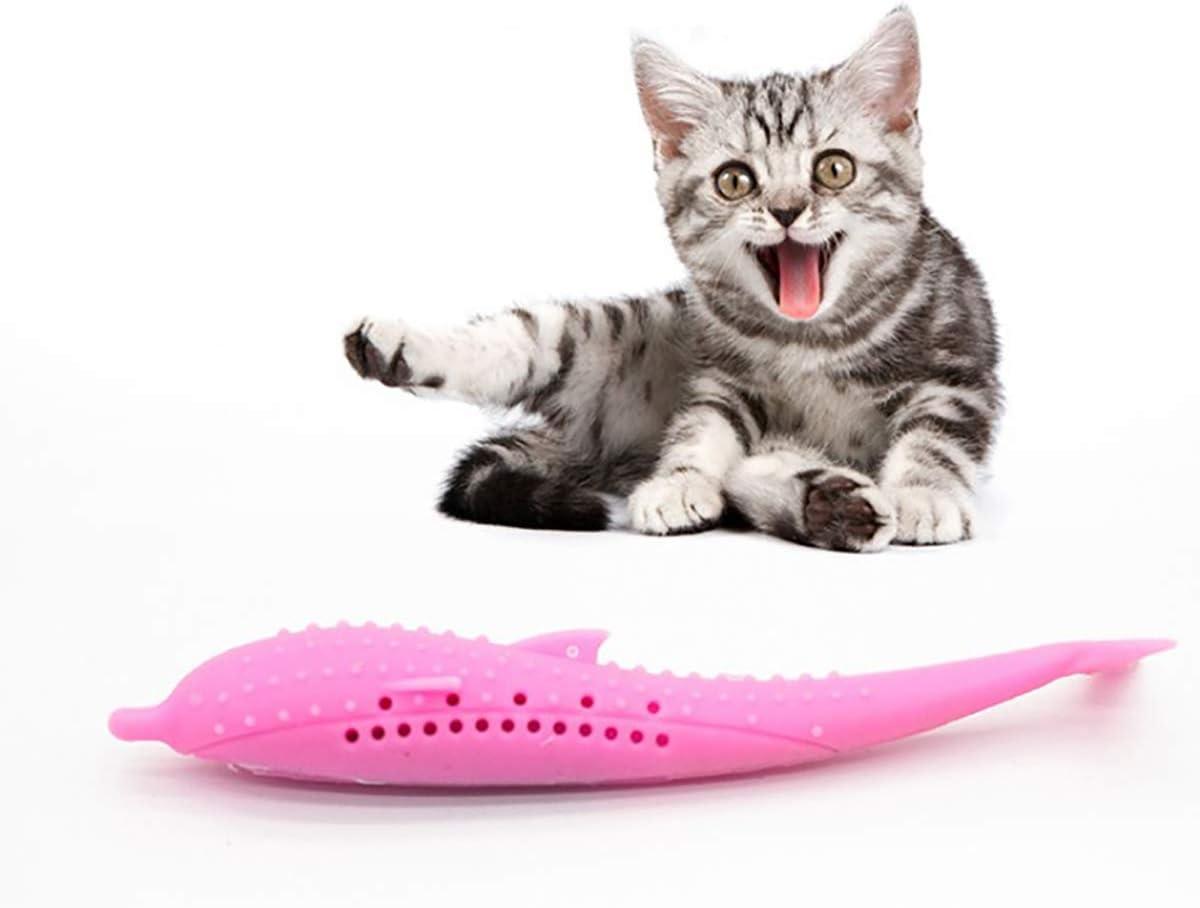 DIANZHI Gatto spazzolino da Denti Giocattolo da Masticare per la Pulizia dei Denti per Gatti e Gattini Bastoncino in Silicone a Forma di Pesce Gatti con Erba Gatta