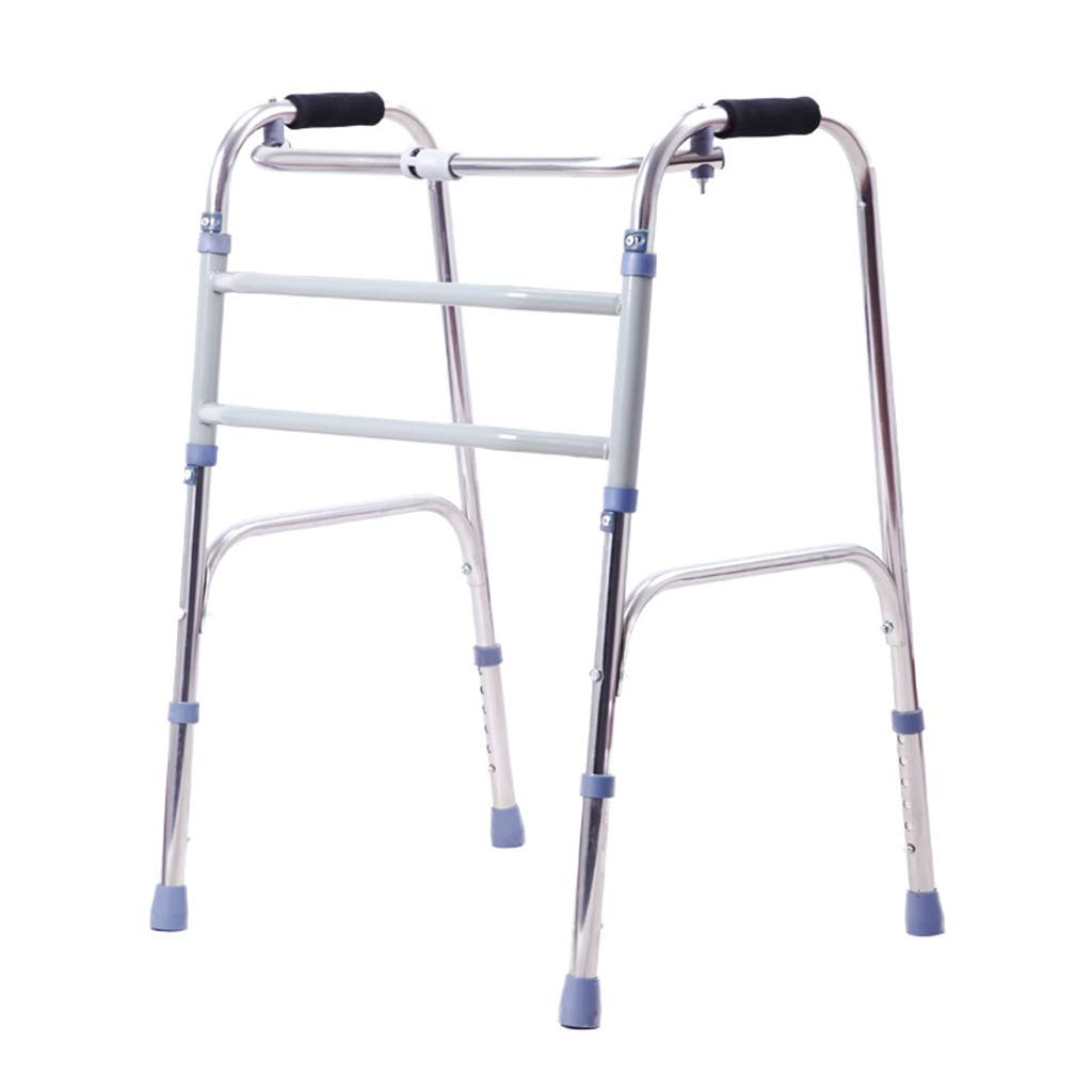SXD 高齢者用ステンレスウォーカー、折りたたみ式ウォーキングフレーム、4本足サポート、移動式杖、身長140-185cmの間で調節可能   B07TDPXWVK