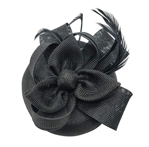 Ahugehome Fascinator Hats for Women Feather Headband Fascinators Pillbox hat Wedding (H Black)