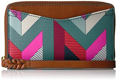 Fossil Caroline Rfid Smartphone Zip Around Wallet Chevron Blue Wallet