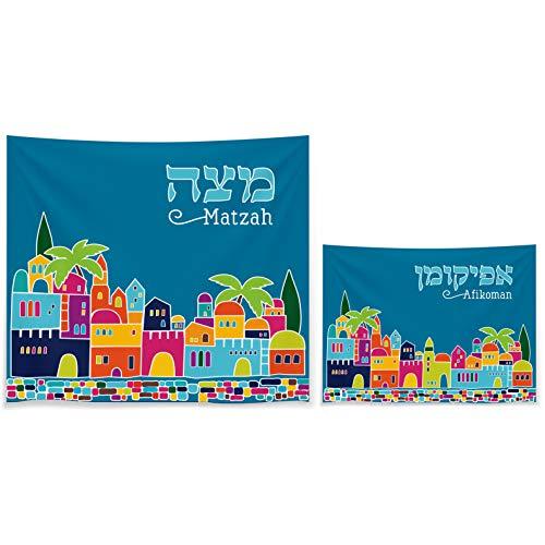 - Matzah Cover & Afikoman Bag Set For Passover - Satin Blue Matzo Set