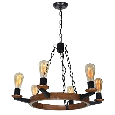 Baiwaiz Round Rustic Chandelier Light Metal Farmhouse Dining Room Chandelier Circular Traditional Vintage Pendant Light 6 Lights Edison E26 085