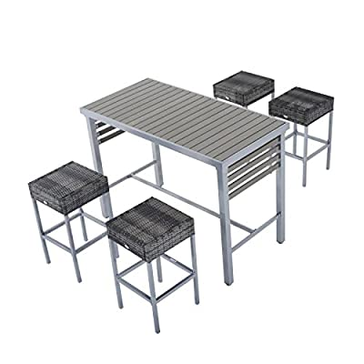 Outsunny 5pc Steel Rattan Wicker Bar Stool Dining Table Set