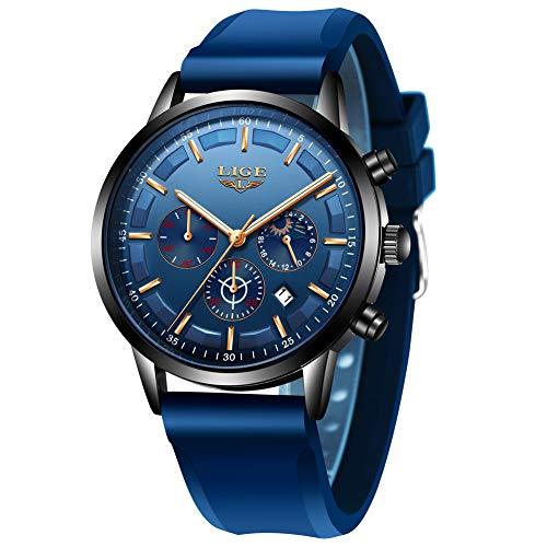 LIGE Men's Watch Fashion Silica Gel Waterproof Analog Quartz Watch Men Luxury Automatic Chronograph