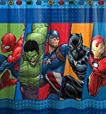 Marvel Comics ''Good Guys'' Super Hero 72-Inch x 72-Inch Shower Curtain Features Spider Man, Hulk, Captain America, Black Panther And Iron Man Design, 100% Microfiber Polyester