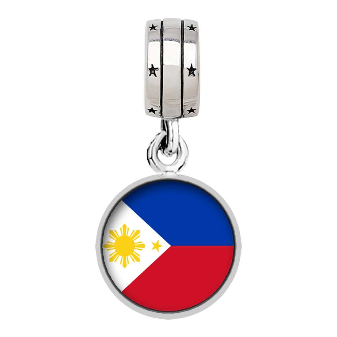 Silver Plated Philippines flag Photo With God All Things Are Possible Religious Dangle Charm Bracelets GiftJewelryShop