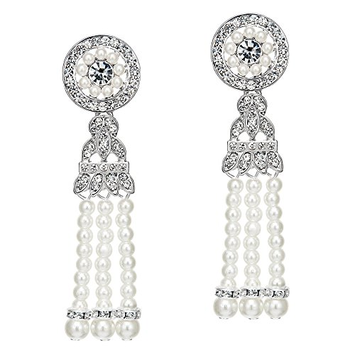 BABEYOND 1920s Flapper Art Deco Gatsby Earrings 20s Flapper Gatsby Accessories (Style 4-Silver)]()