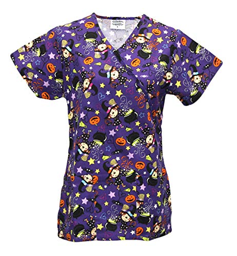 Cassandra Women's Halloween Medical Nursing Tie Back Scrub