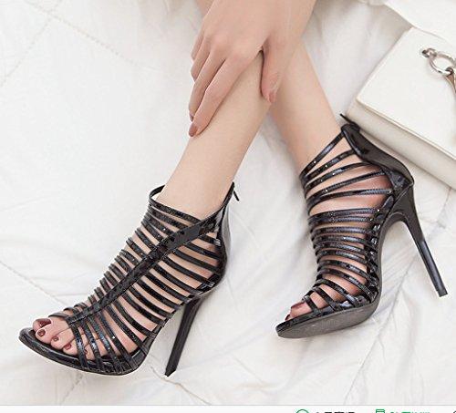 Alto Pista Delgados ZHUDJ De Alto Zapatos De Sandalias con Stilettos Tacón Ahuecó Los Tacón De Toe black Owq1OUF